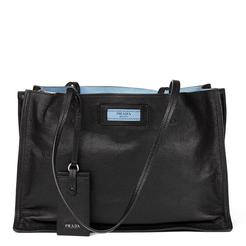 Prada Etiquette Black Glace Calfskin Leather Shopping Tote 1BG118 at_Queen_Bee_of_Beverly_Hills