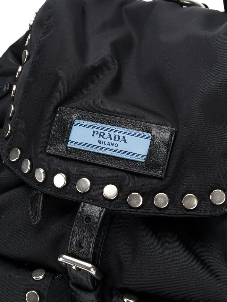 Prada Etiquette Black Studded Tessuto Nylon Backpack 1BZ811 at_Queen_Bee_of_Beverly_Hills