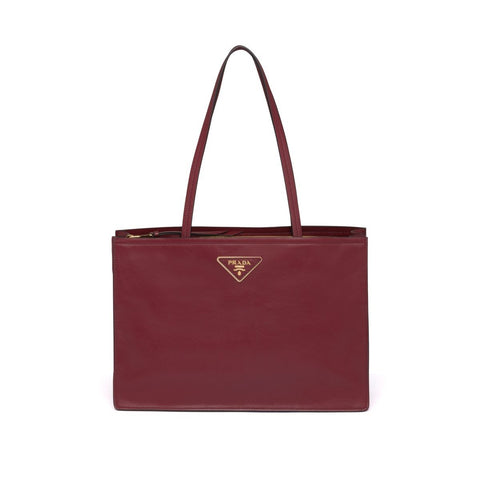 Prada Etiquette Glace Calf Leather Cerise Red Shopping Tote Bag 1BG122 at_Queen_Bee_of_Beverly_Hills
