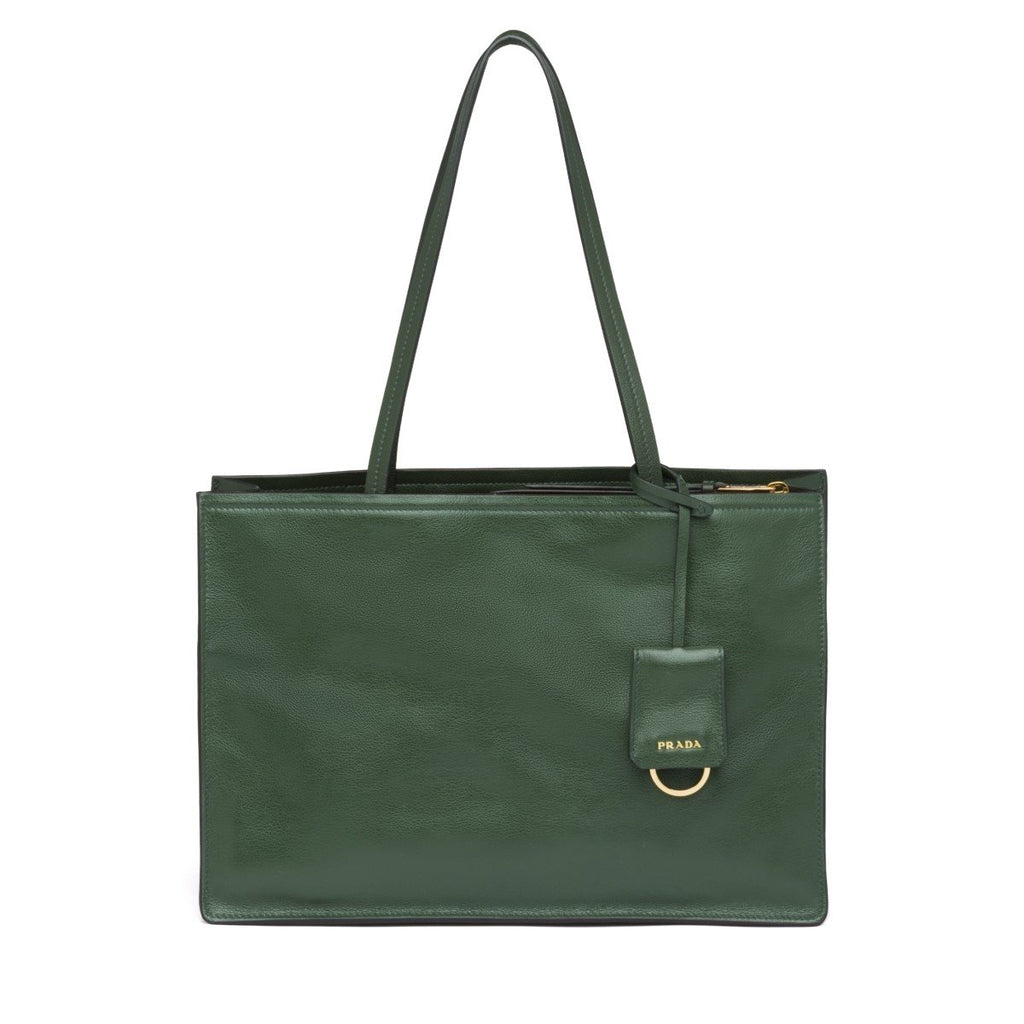 Prada Etiquette Glace Calf Leather Dark Green Shopping Tote Bag 1BG122 at_Queen_Bee_of_Beverly_Hills
