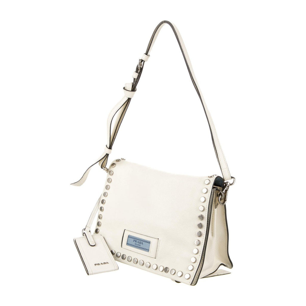 Prada Etiquette Pattina Bianco White Glace Calf Leather Studded Crossbody Handbag 1BD082 at_Queen_Bee_of_Beverly_Hills
