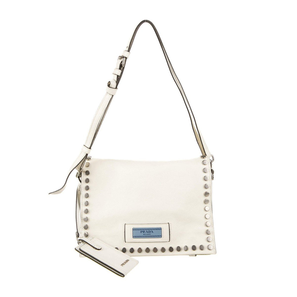 Prada Etiquette Pattina Bianco White Glace Calf Leather Studded Crossbody Handbag 1BD085 at_Queen_Bee_of_Beverly_Hills