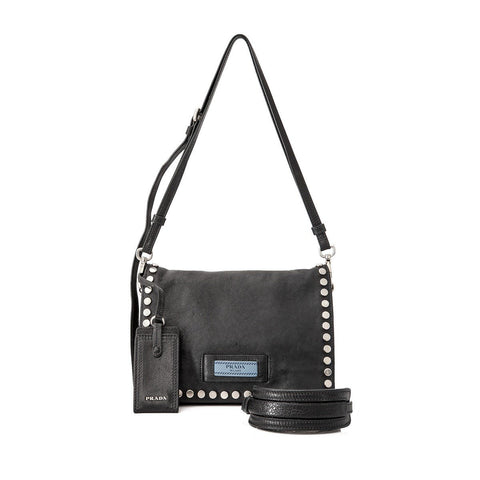Prada Etiquette Pattina Black Glace Calf Leather Studded Crossbody Handbag 1BD082 at_Queen_Bee_of_Beverly_Hills