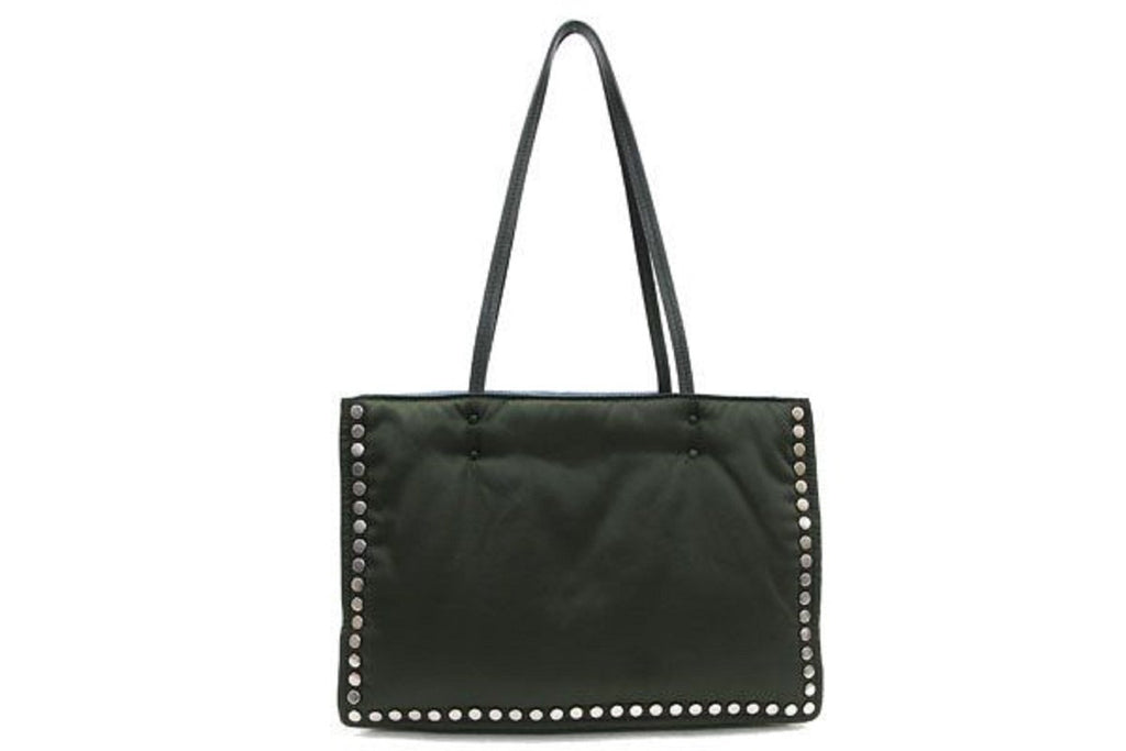 Prada Etiquette Tessuto Nylon Black Astral Studded Tote Bag 1BG122 at_Queen_Bee_of_Beverly_Hills
