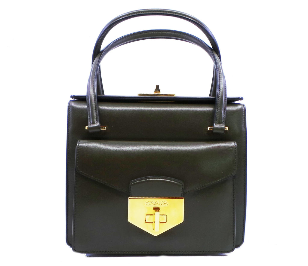 Prada Front Lock Olive Green Militare Box Calf Leather Shopping Tote BN2708 at_Queen_Bee_of_Beverly_Hills