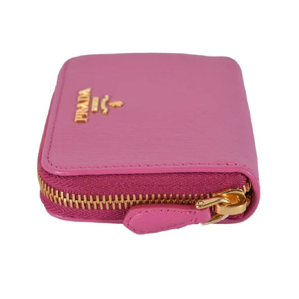 Prada Fuxia Pink Saffiano Leather Zip Around Coin Purse Wallet 1MM268 2EZZ at_Queen_Bee_of_Beverly_Hills