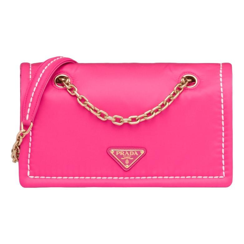 Prada Fuxia Pink Tessuto Nylon Chain Flap Bag 1BD199 at_Queen_Bee_of_Beverly_Hills