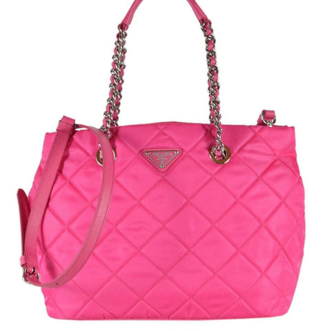 Prada Fuxia Quilted Tessuto Nylon Chain Strap Shoulder Bag Tote 1BG740 at_Queen_Bee_of_Beverly_Hills