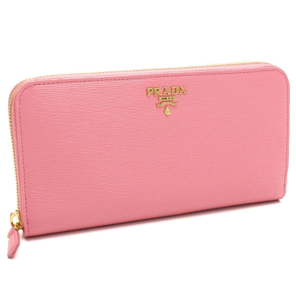Prada Geranio Pink Leather Saffiano Vitello Move Gold Hardware Zip Wallet 1ML506 at_Queen_Bee_of_Beverly_Hills
