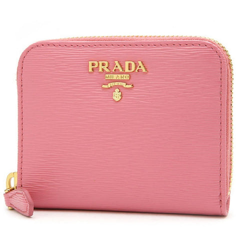 Prada Geranio Pink Saffiano Leather Gold Zip Coin Purse Wallet 1MM268 at_Queen_Bee_of_Beverly_Hills
