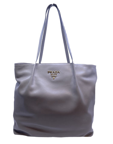 Prada Glace Calf + City Zip Close Shopping Tote Argilla Gray 1BG275 at_Queen_Bee_of_Beverly_Hills