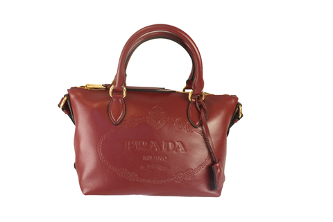 Prada Glace Calf Embossed Logo Cerise Red Convertible Shoulder Bag Tote 1BA111 at_Queen_Bee_of_Beverly_Hills