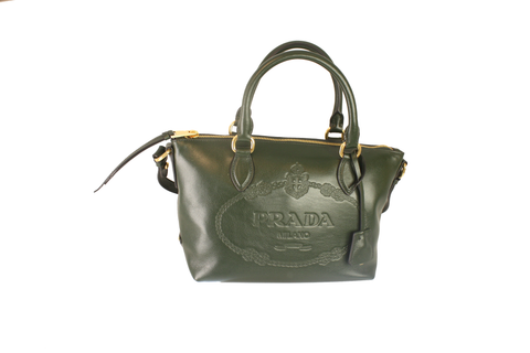 Prada Glace Calf Embossed Logo Green Convertible Shoulder Bag Tote 1BA111 at_Queen_Bee_of_Beverly_Hills
