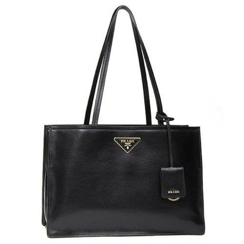 Prada Glace Calf Etiquette Leather Black Shopping Tote Bag 1BG122 at_Queen_Bee_of_Beverly_Hills