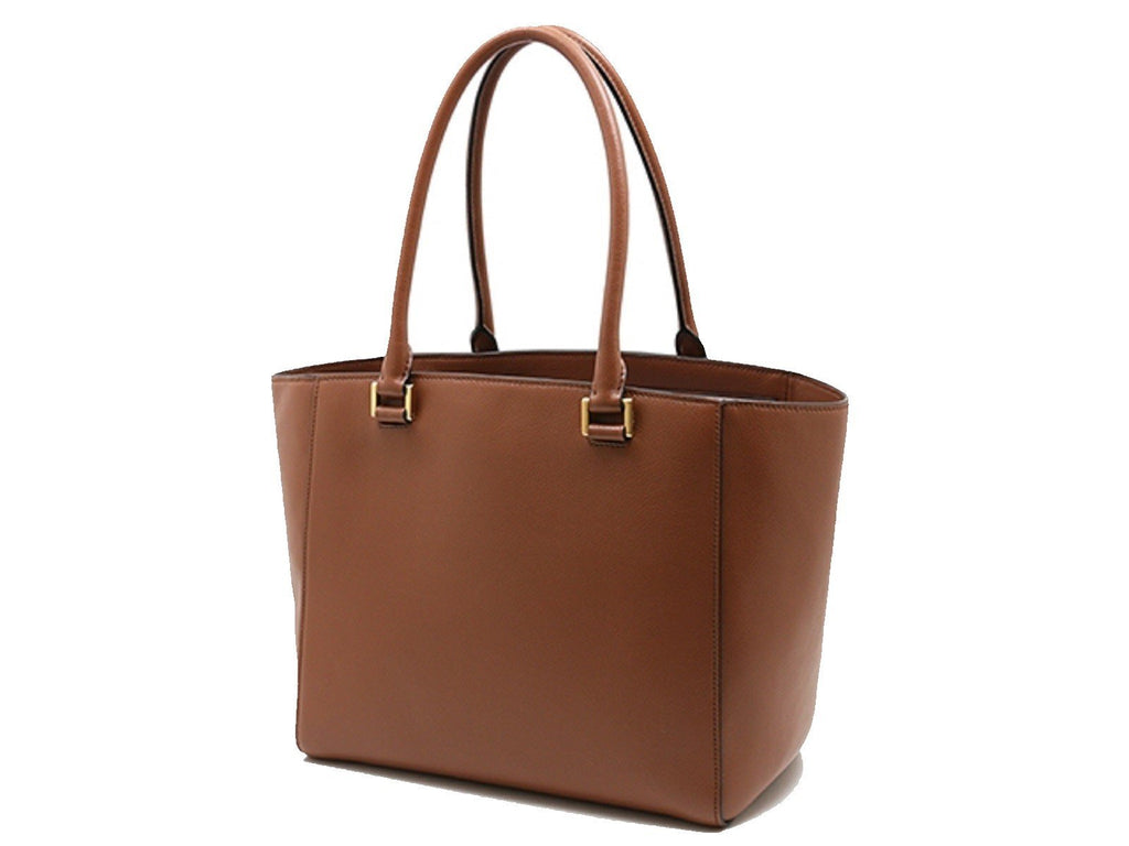 Prada Glace Calf Twin Pocket Tote Cognac Brown Leather Tote Bag 1BG227 at_Queen_Bee_of_Beverly_Hills