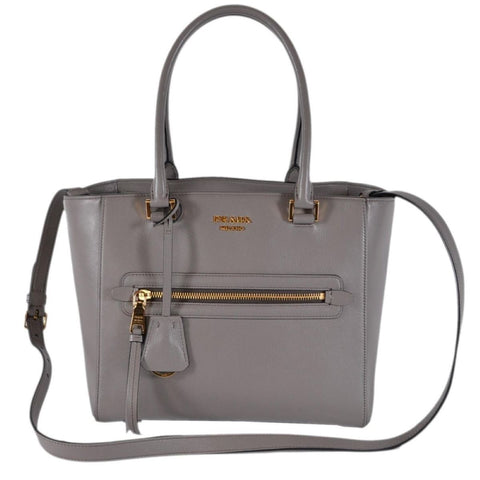 Prada Glace Calf Twin Pocket Tote Gray Leather Tote Bag 1BG227 at_Queen_Bee_of_Beverly_Hills