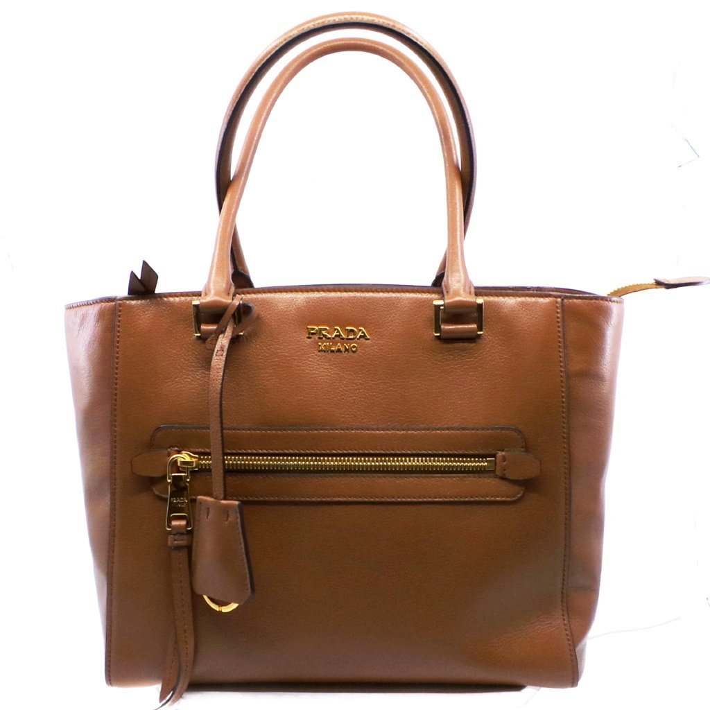 Prada Glace Calf Twin Pocket Tote Women's Cognac Brown Leather Shopping Bag Handbag 1BG227 at_Queen_Bee_of_Beverly_Hills
