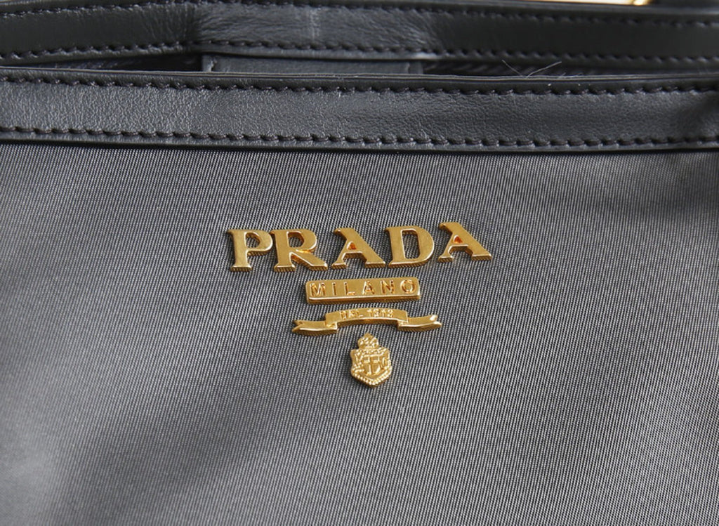 Prada Gray Tessuto Nylon Calf Leather Trim Shopping Tote Bag at_Queen_Bee_of_Beverly_Hills