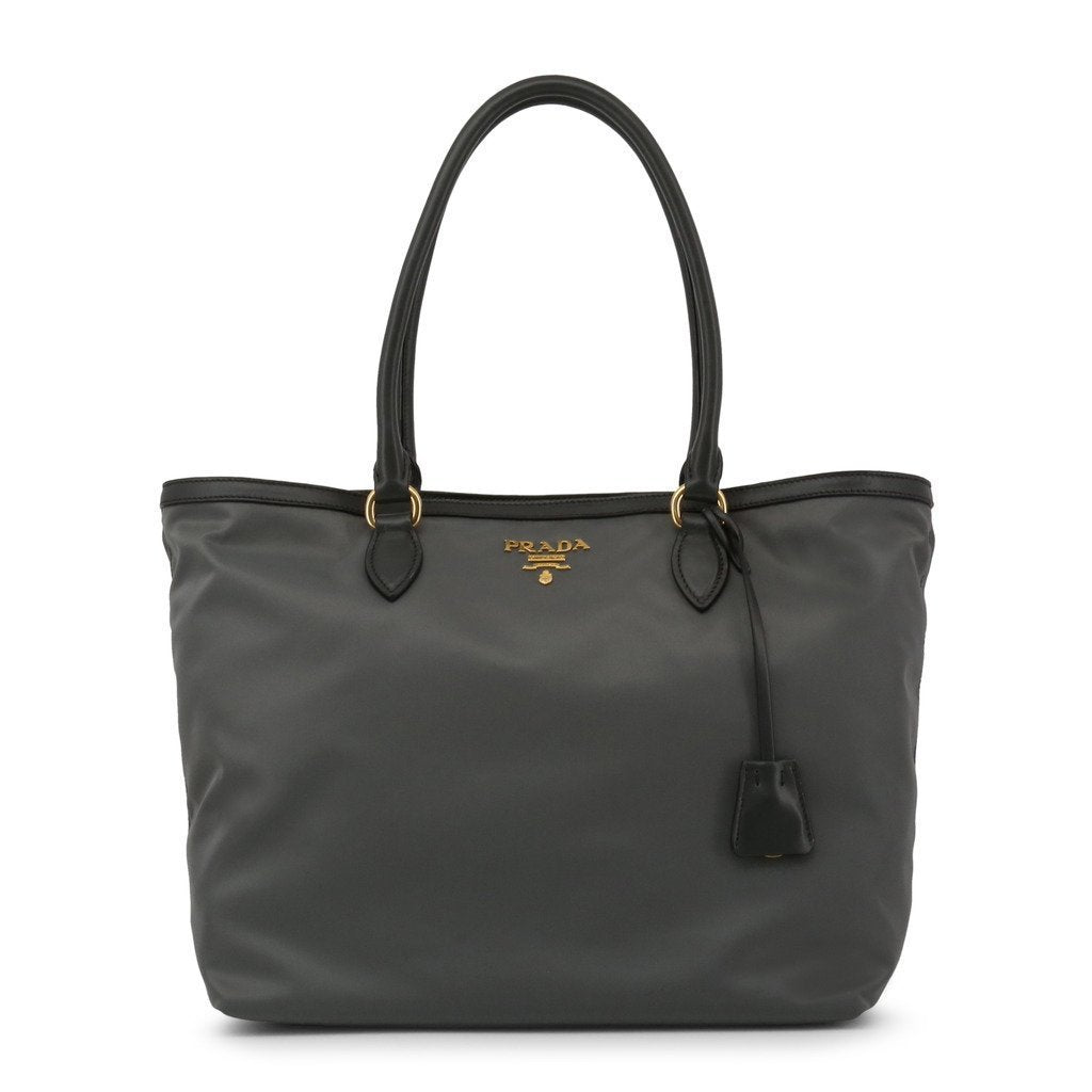 Prada Gray Tesutto Nylon w Calf Leather Trim Shopping Tote Handbag 1BG158 at_Queen_Bee_of_Beverly_Hills