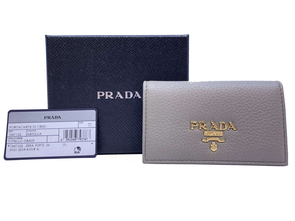 Prada Gray Vitello Grain Pebbled Leather Credit Card Case Wallet 1MC122 at_Queen_Bee_of_Beverly_Hills