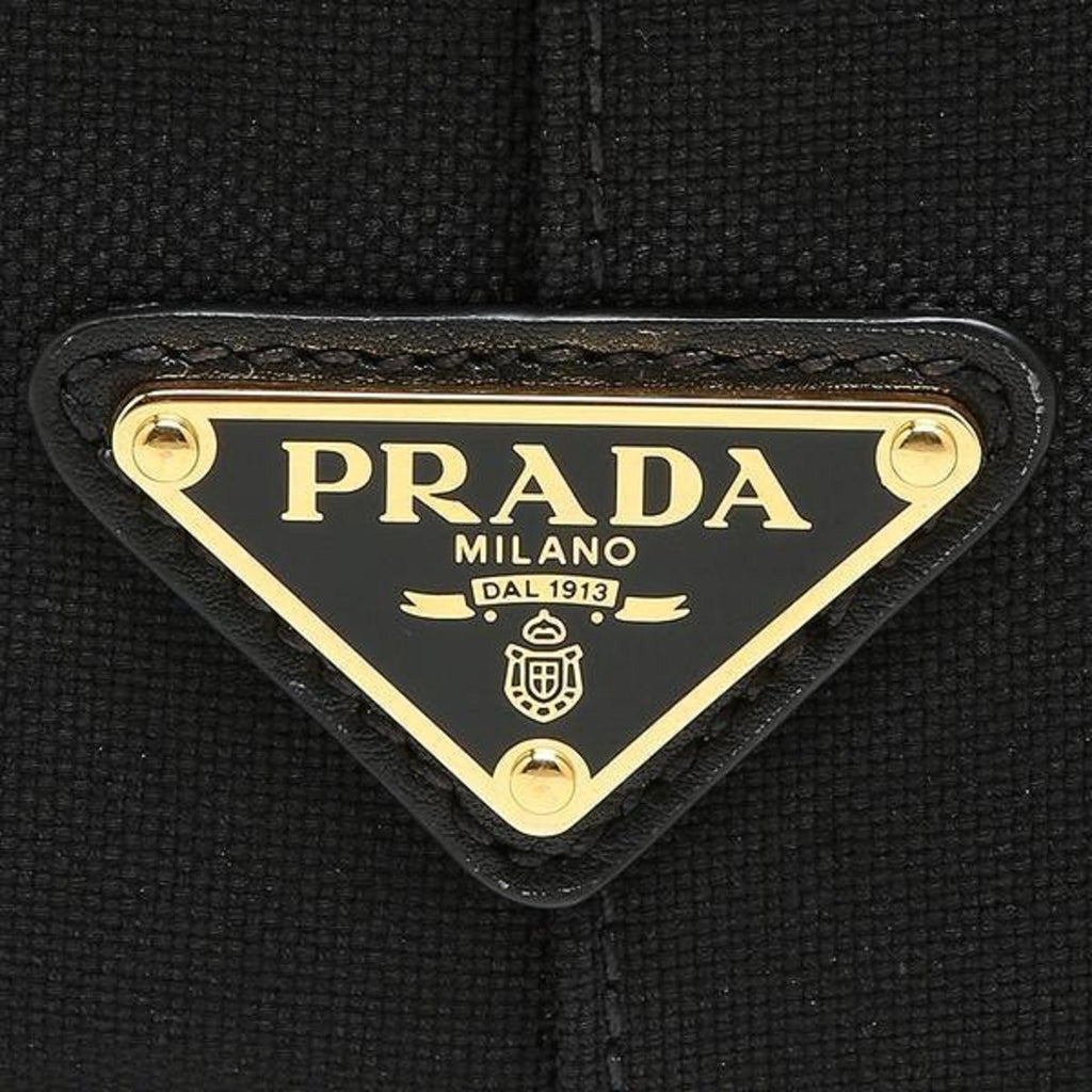 Prada Jacquard Black Logo Calf Leather Trim Shopping Tote 1BG158 at_Queen_Bee_of_Beverly_Hills