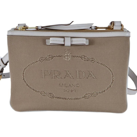 Prada Jacquard Brown Crossbody White Leather Trim Prada Logo 1BH150 at_Queen_Bee_of_Beverly_Hills