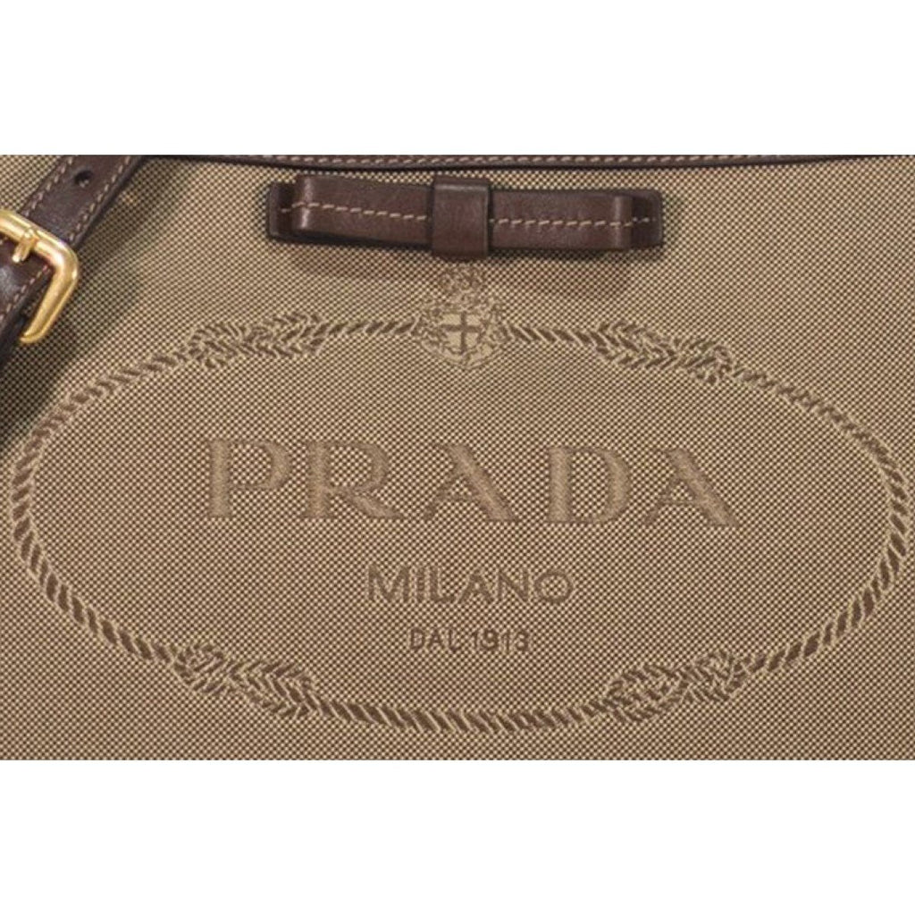 Prada Jacquard Brown Fabric Leather Trim Logo Crossbody Handbag 1BH150 at_Queen_Bee_of_Beverly_Hills