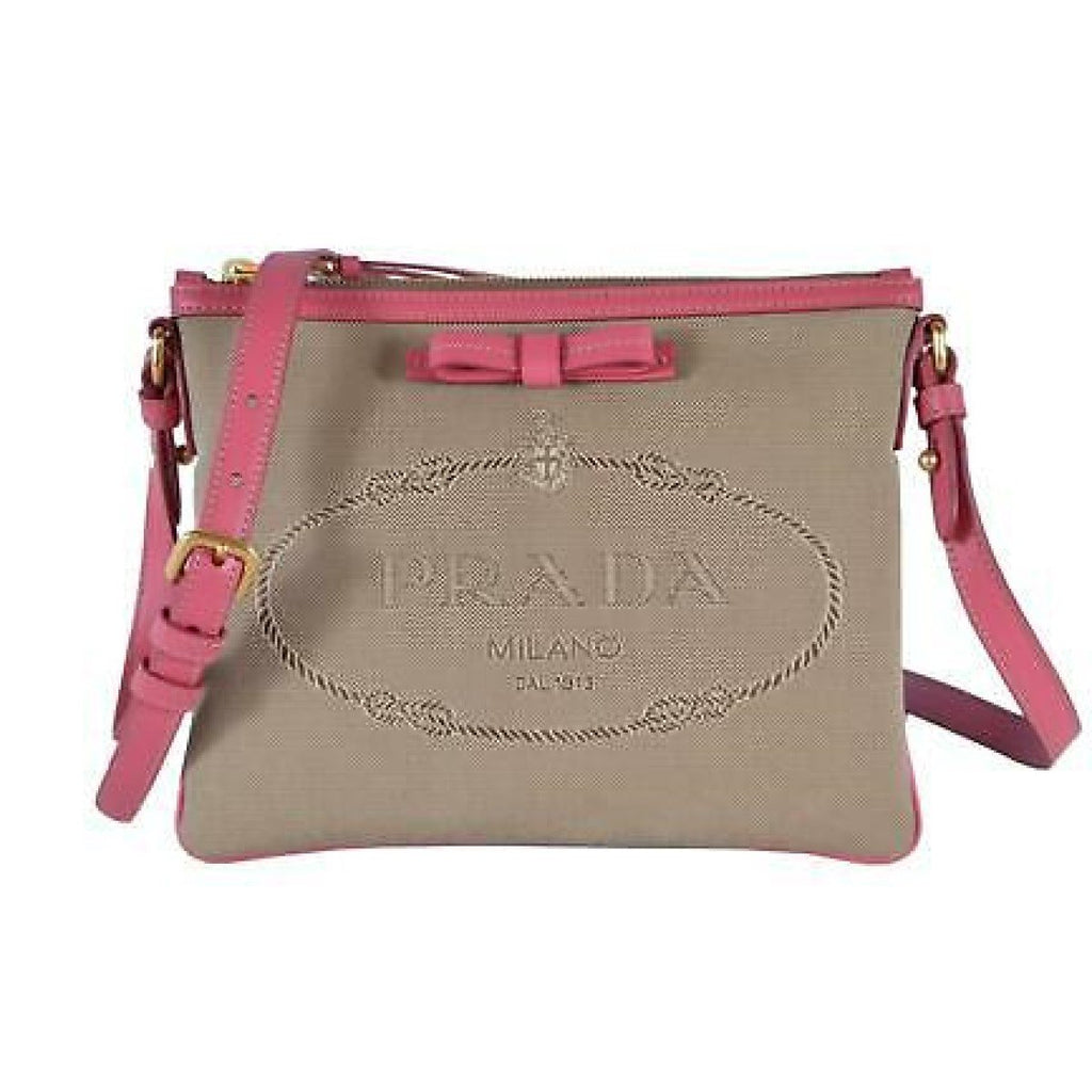 Prada Jacquard Brown Fabric Pink Leather Trim Logo Crossbody 1BH150 at_Queen_Bee_of_Beverly_Hills