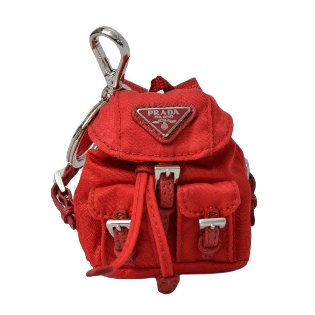 Prada Key Chain Red Nylon Iconic Prada Backpack Coin Purse Bag Charm 1TT010 at_Queen_Bee_of_Beverly_Hills
