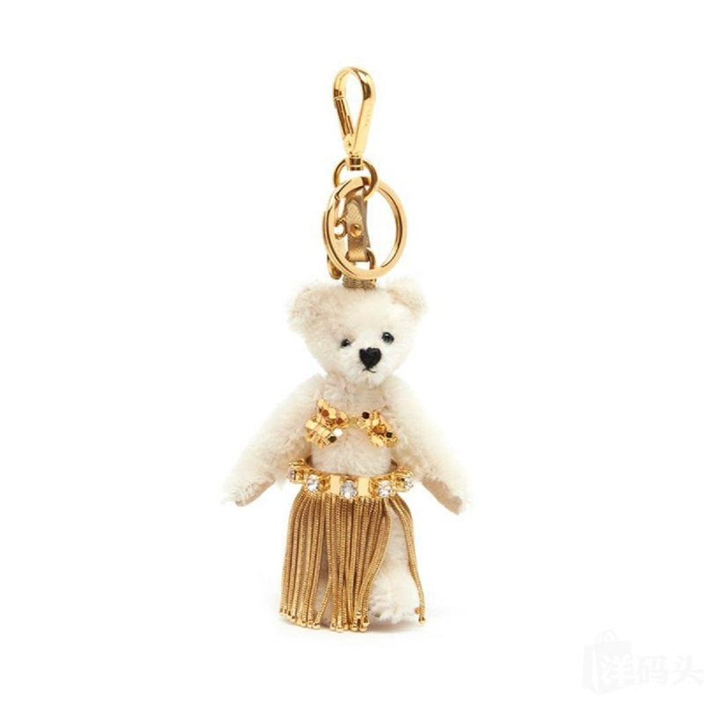 Prada Leia White Jeweled Hula Skirt Teddy Bear Key-chain Bag Charm 1TO034 at_Queen_Bee_of_Beverly_Hills