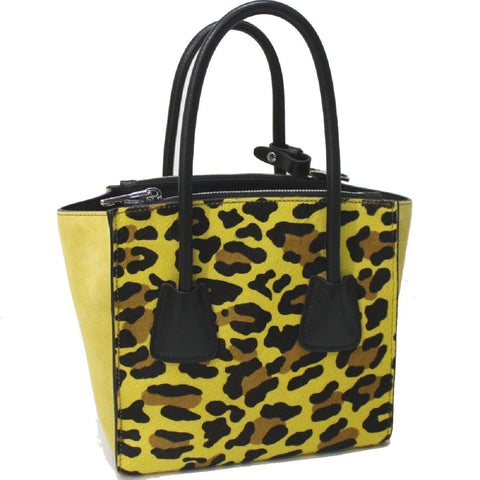 Prada Leopard Pattern Neon Yellow Suede and Pony Hair Cross body Bag 1BA025 at_Queen_Bee_of_Beverly_Hills