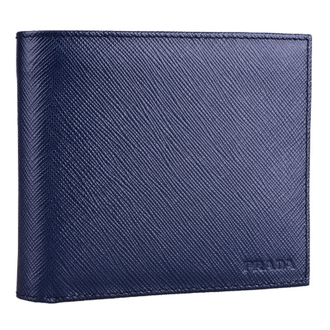 Prada Men's Bi Fold Orizzontale Saffiano Cuir Leather Baltico Navy Blue Wallet 2MO513 at_Queen_Bee_of_Beverly_Hills