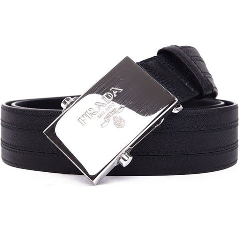 Prada Men's Logo Engraved Plaque Saffiano Leather Belt Black Nero 40 100 2CM009 at_Queen_Bee_of_Beverly_Hills