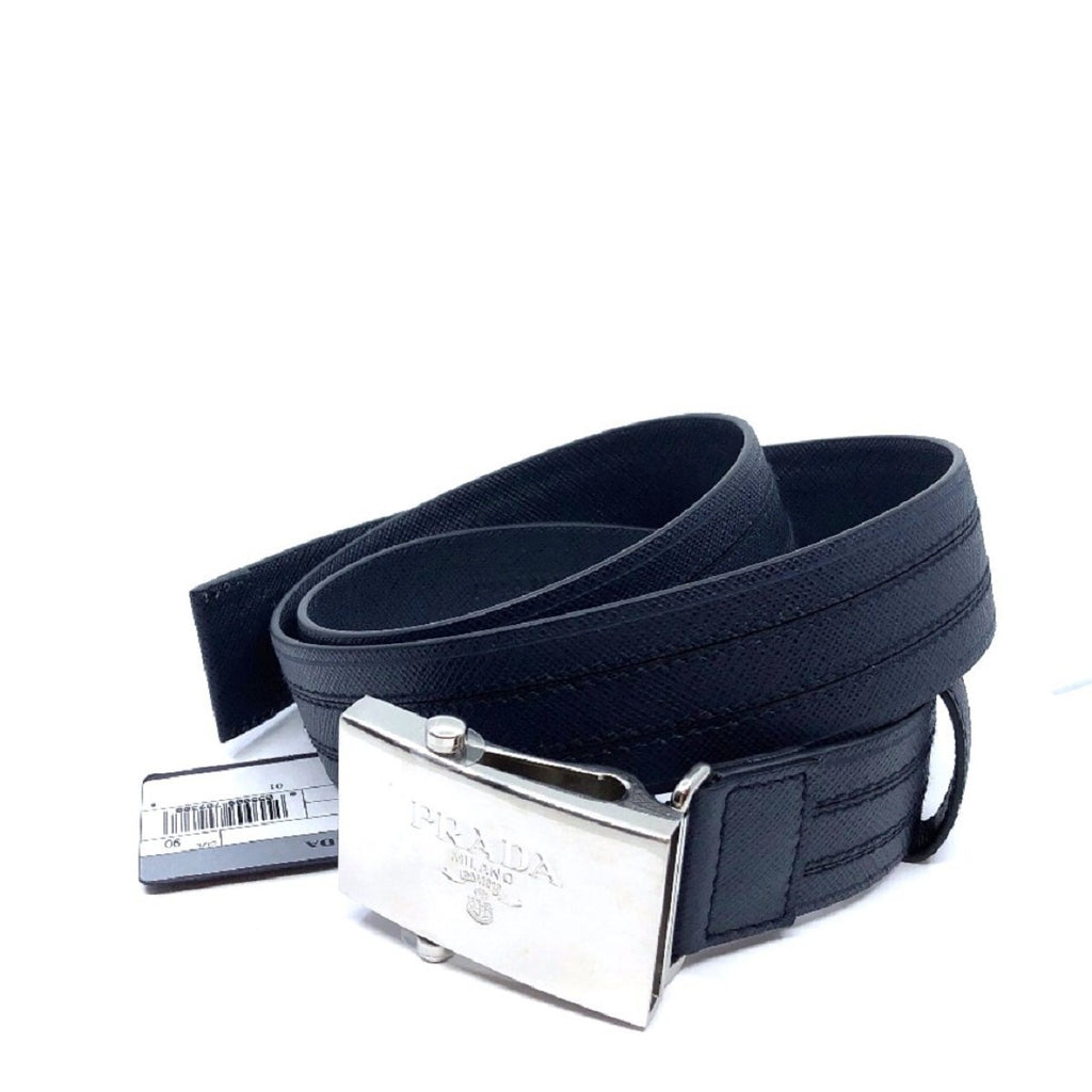 Prada Men's Logo Engraved Plaque Saffiano Leather Belt Blue 105/ 42 2CM009 at_Queen_Bee_of_Beverly_Hills