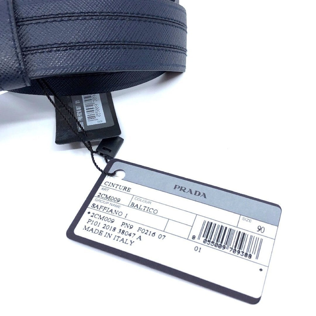 Prada Men's Logo Engraved Plaque Saffiano Leather Belt Blue 105 42 2CM009 at_Queen_Bee_of_Beverly_Hills