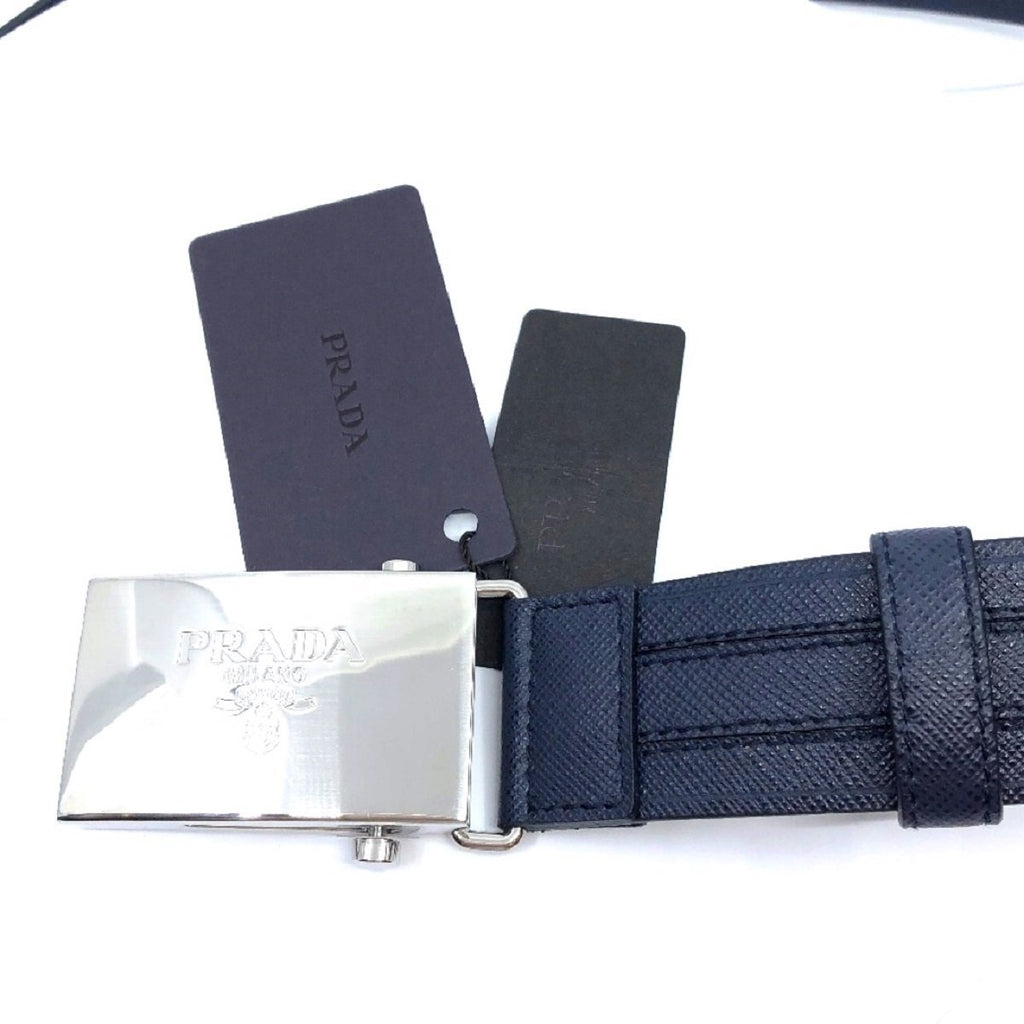 Prada Men's Logo Engraved Plaque Saffiano Leather Belt Blue 38 95 2CM009 at_Queen_Bee_of_Beverly_Hills