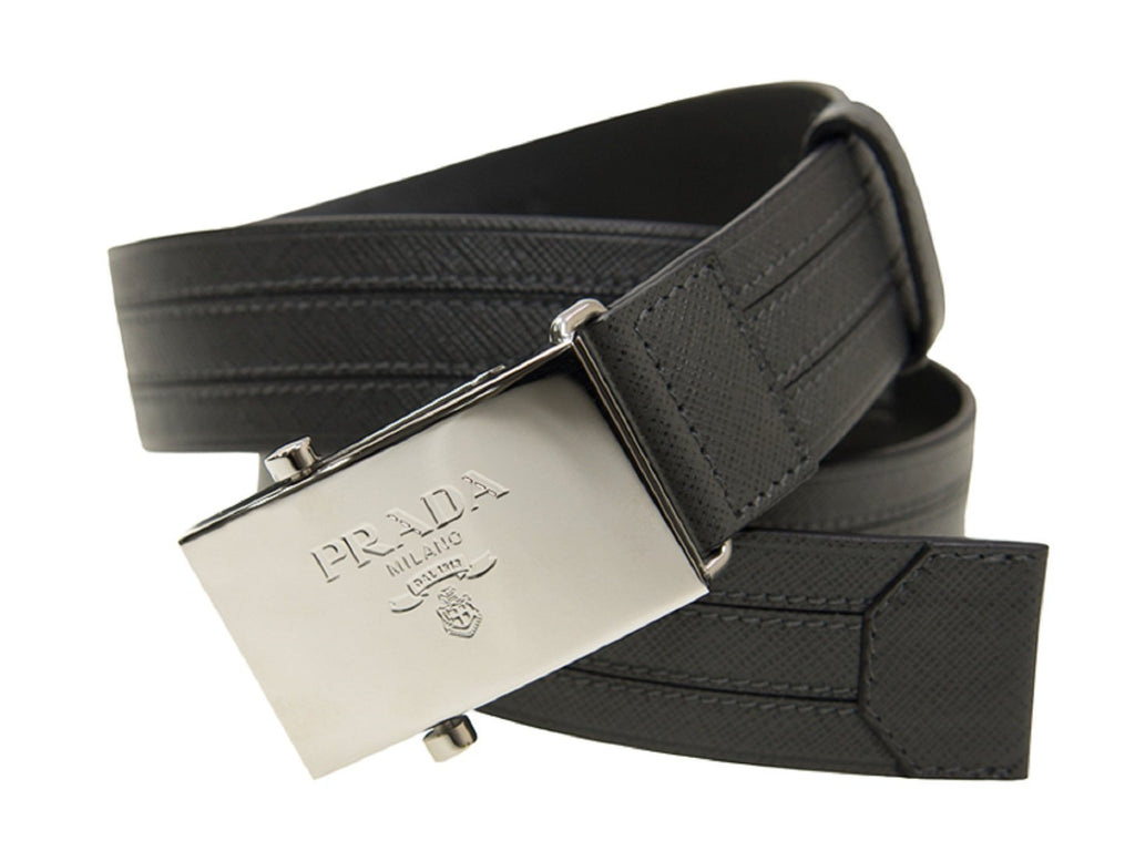 Prada Men's Logo Engraved Plaque Saffiano Leather Belt Grey Antracite 38/95 2CM009 at_Queen_Bee_of_Beverly_Hills