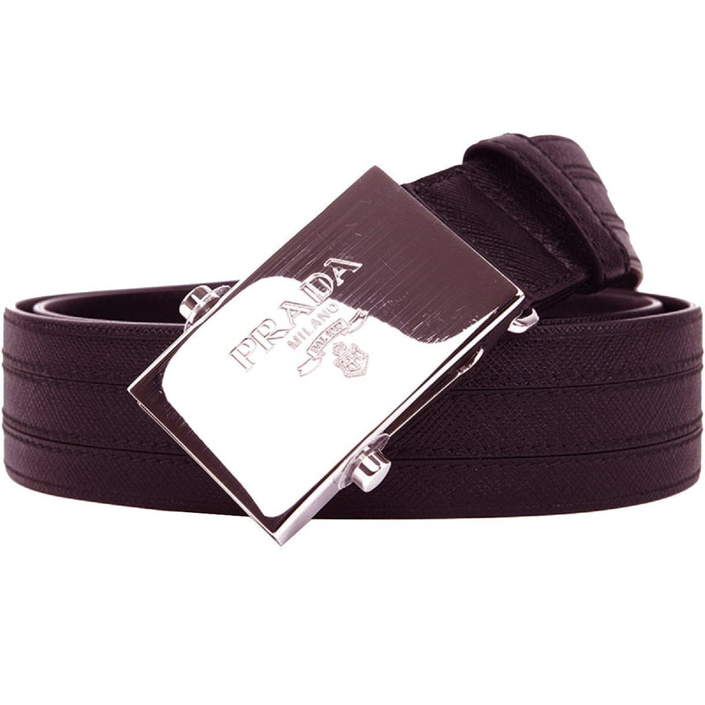 Prada Men's Saffiano 1 Brown Leather Belt Silver Plaque  2CM009 Size: 100/40 at_Queen_Bee_of_Beverly_Hills