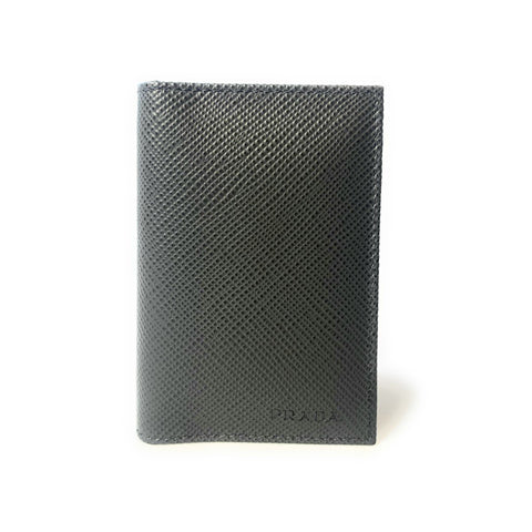 Prada Men's Saffiano Anthracite Grey Leather Vertical Card Holder 2MC101 at_Queen_Bee_of_Beverly_Hills