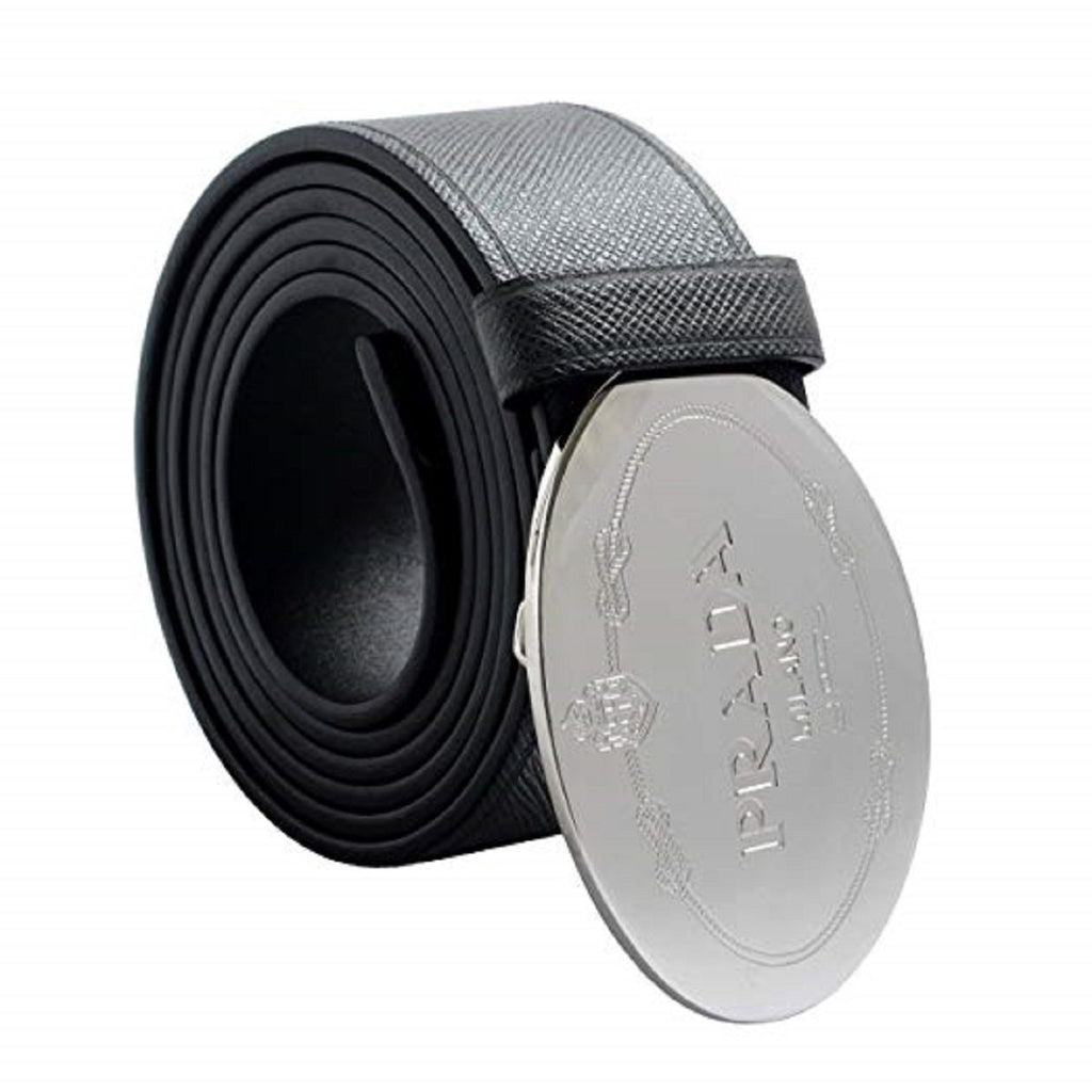 Prada Men's Saffiano Grey Anthracite Leather Engraved Oval Plaque Buckle Belt 2CM046 Size:105/42 at_Queen_Bee_of_Beverly_Hills