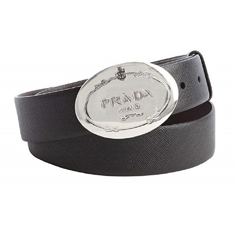 Prada Men's Saffiano Grey Anthracite Leather Engraved Oval Plaque Buckle Belt 2CM046 Size:110/44 at_Queen_Bee_of_Beverly_Hills