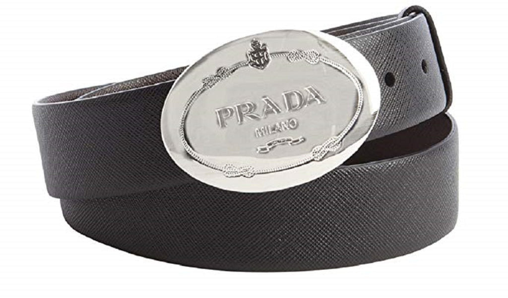 Prada Men's Saffiano Grey Anthracite Leather Engraved Oval Plaque Buckle Belt 2CM046 Size: 95/38 at_Queen_Bee_of_Beverly_Hills