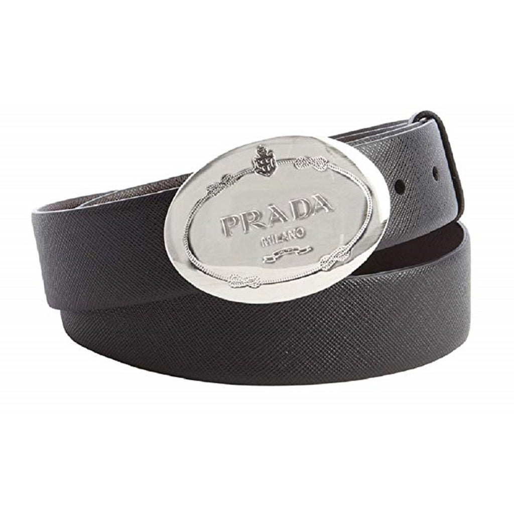 Prada Men's Saffiano Grey Anthracite Leather Oval Plaque Buckle Belt 2CM046 Size: 40/100 at_Queen_Bee_of_Beverly_Hills