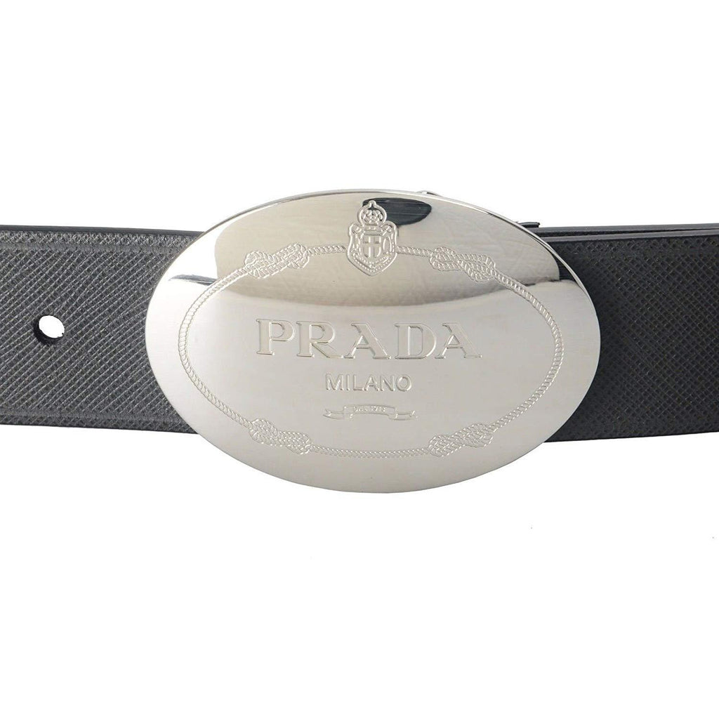 Prada Men's Saffiano Grey Anthracite Leather Oval Plaque Buckle Belt 2CM046 Size: 90/36 at_Queen_Bee_of_Beverly_Hills