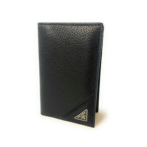 Prada Men's Vitello Micro Grain Black Leather Vertical Card Holder 2MC101 at_Queen_Bee_of_Beverly_Hills