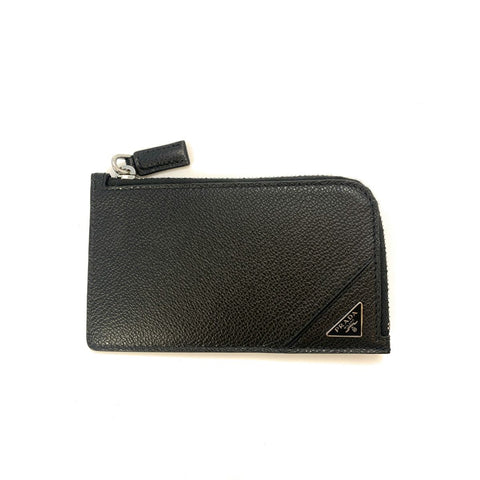 Prada Men's Vitello Micro Grain Black Leather Zipper Card Case Wallet 2MC021 at_Queen_Bee_of_Beverly_Hills