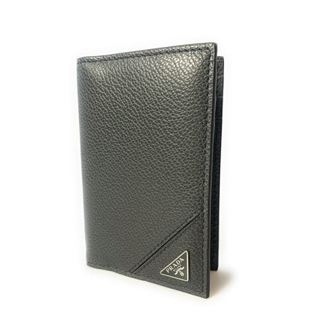 Prada Men's Vitello Micro Grain Grey Leather Vertical Card Holder 2MC101 at_Queen_Bee_of_Beverly_Hills