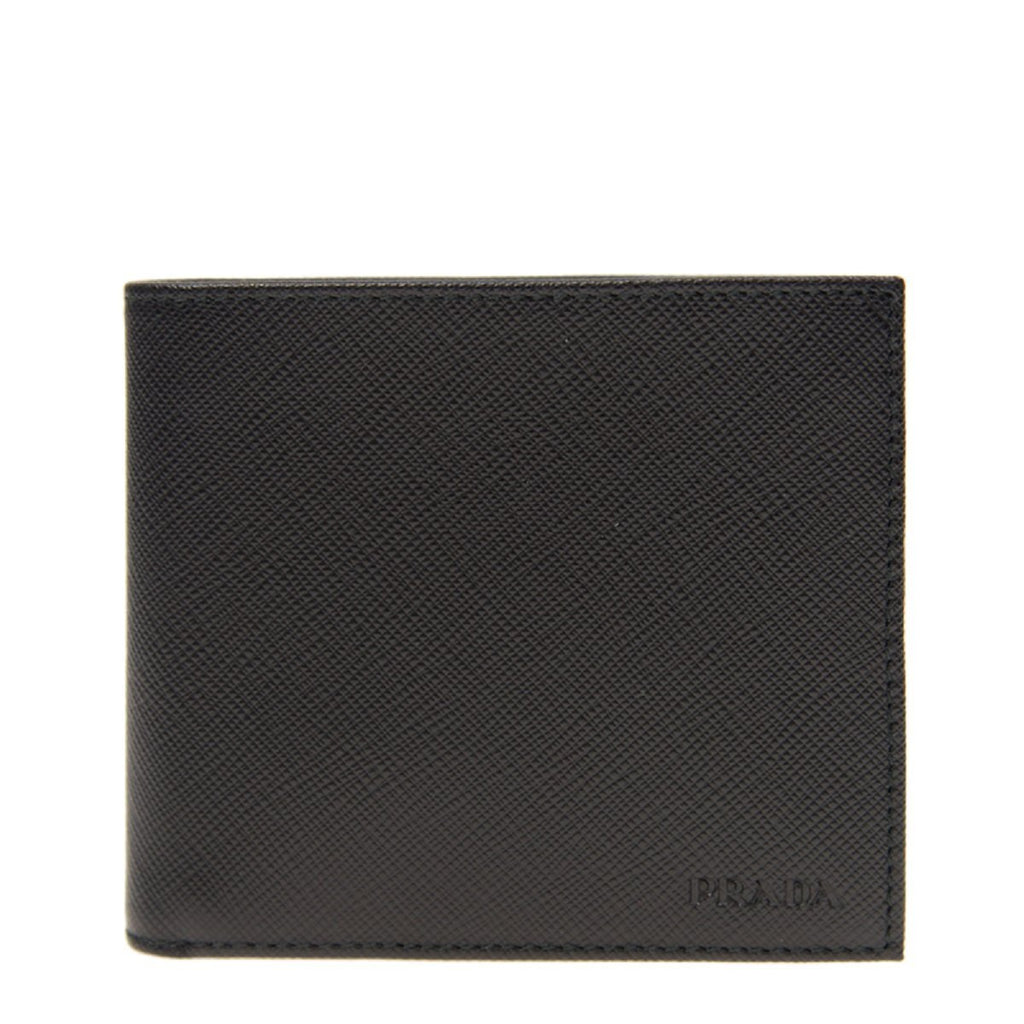 Prada Men's Vitello Micro Grain Nero Black Bifold Wallet 2MO233 at_Queen_Bee_of_Beverly_Hills