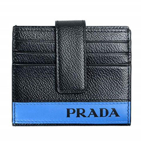 Prada Mens Black Blue Stripe Logo Vitello Micrograin Card Holder Wallet 2MC049 at_Queen_Bee_of_Beverly_Hills