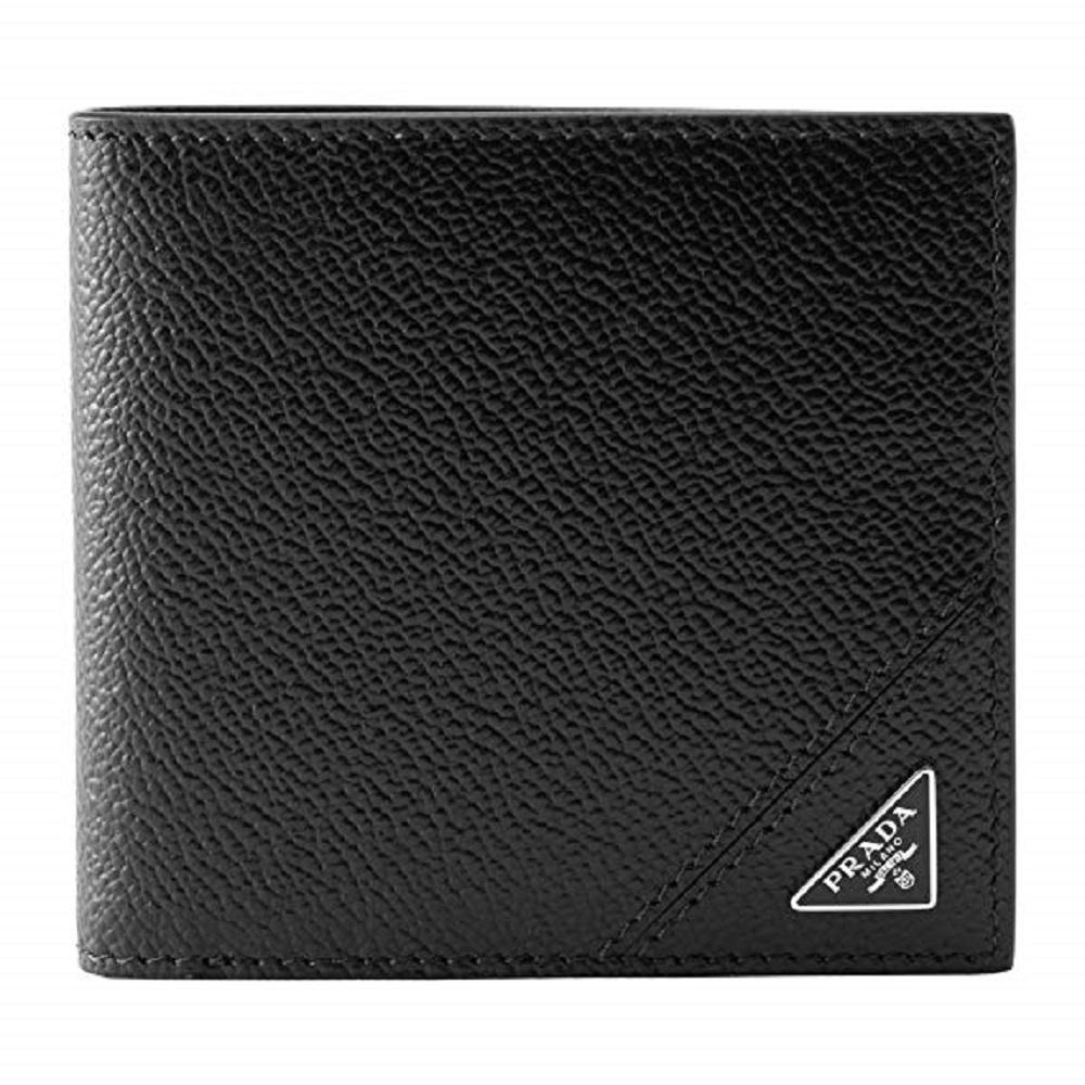 Prada Mens Black Saffiano Leather Silver Triangle Logo Bifold Wallet 2MO912 at_Queen_Bee_of_Beverly_Hills